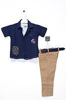Костюм (брюки, рубашка, футболка) для ребёнка/мальчик 70% хлопок, 30% полиэстер тёмно-синий Bombicix все размеры  2 года (92 см)
