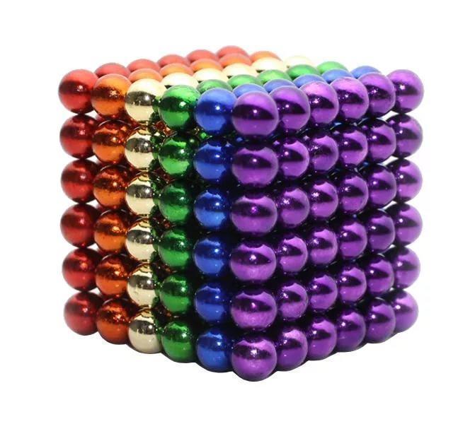 Магнитные шарики Неокуб Neocube Радуга 216 шариков диаметром 5мм в боксе