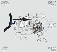 Патрубок радиатора охлаждения, нижний, Chery A13, Forza [Sedan], A13-1303111FA, Original parts
