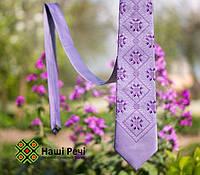 Классический мужской галстук с вышивкой бузкового цвета из сатина «Подолян», фото 1