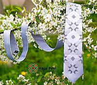 Мужской классический галстук с вышивкой серого цвета в этно стиле «Свитозар», фото 1