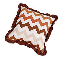 Подушка декоративная с рюшем DavLu Зигзаг 30х30 см коричневый (P-217)