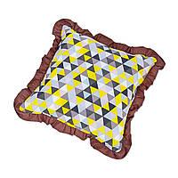 Подушка декоративная с рюшем DavLu Треугольники 30х30 см коричневый (P-218)