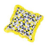 Подушка декоративна з рюшем DavLu Трикутники 30х30 см жовтий (P-219)