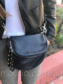 Женская кожаная итальянская сумка через плечо синяя