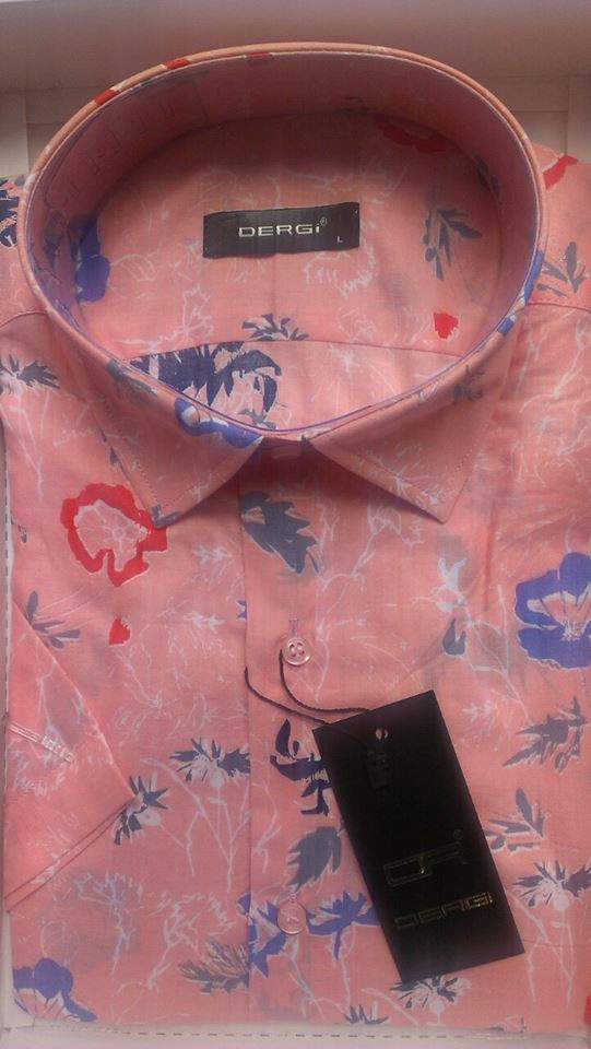 Рубашка мужская с коротким рукавом приталенная DERGI котон
