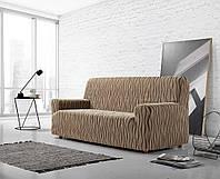 Чехол на диван натяжной 3-4х местный Испания Zebra Textile Andromeda marron Андромеда коричневый