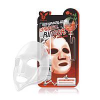 ELIZAVECCA Red Ginseng Deep Power Ringer Mask Pack Осветляющая тканевая маска для лица с женьшенем