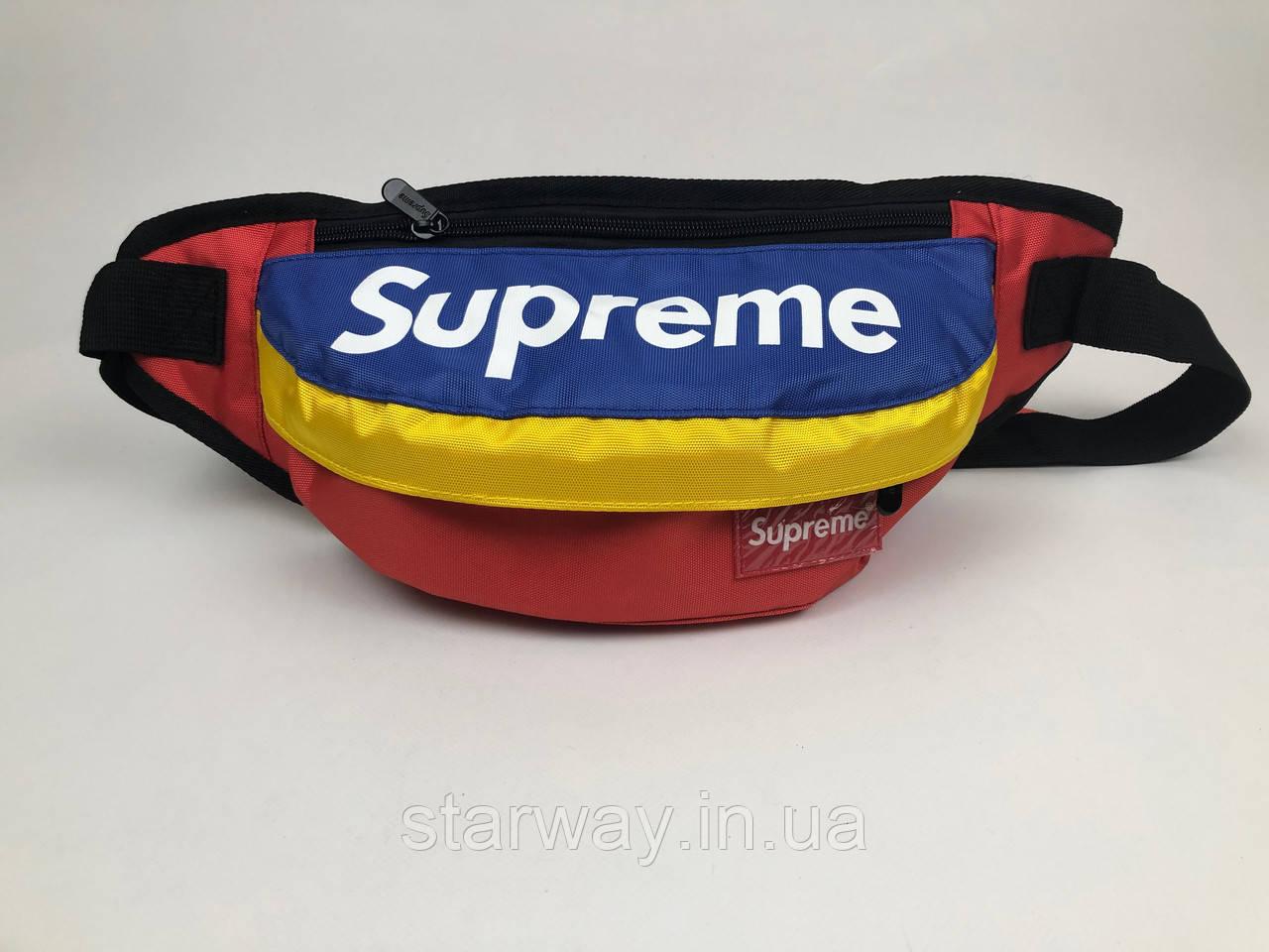 Бананка Supreme logo | Сумка синие-красно-желтая | бирка