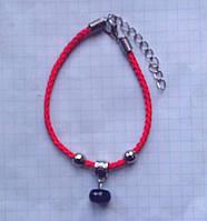 Красная нить - оберег сапфир натуральный природный 10*6 мм