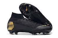 Футбольные бутсы Nike Mercurial Superfly VI 360 Elite FG Black/Gold, фото 1