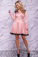 Элегантное персиковое платье 3016