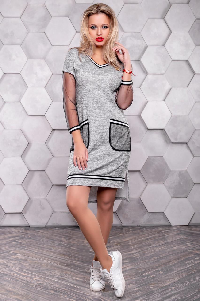 Серое платье спорт шик из трикотажа ангора с люрексом 3148