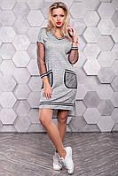 Серое платье спорт шик из трикотажа ангора с люрексом 3148, фото 1