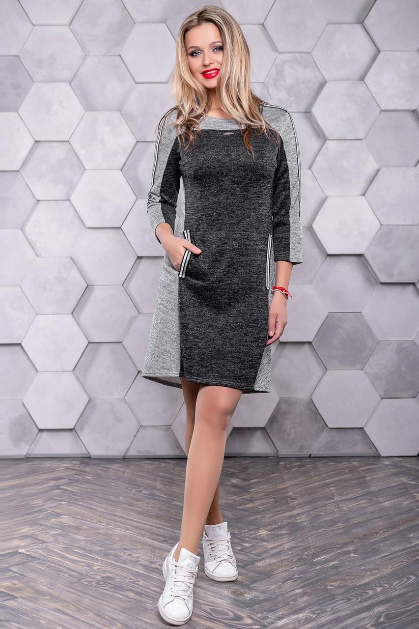 Платье спорт шик из трикотажа ангора с люрексом 3143
