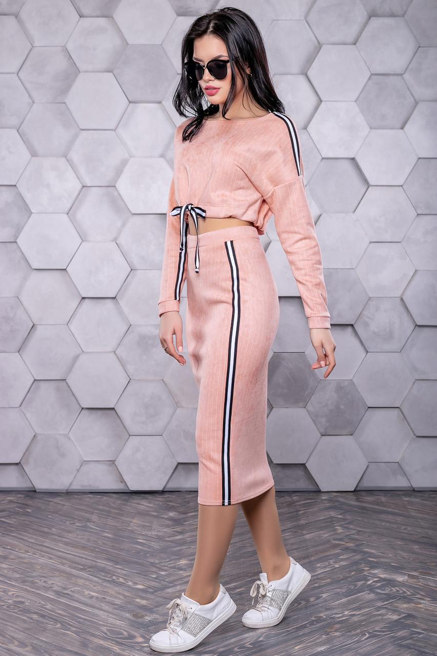 Женский персиковый костюм из замши в стиле спорт-шик 3171