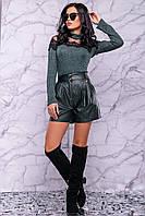 Шорты-юбка из итальянской экокожи на флисе 3003