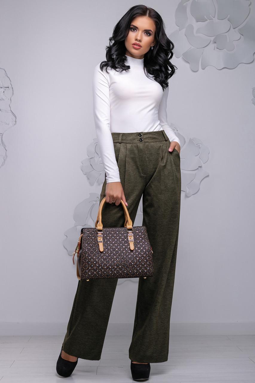 Широкие брюки коричневого цвета 2752, фото 1