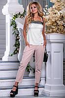Летняя майка белого цвета с кружевом 2690