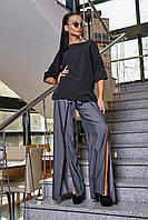 Черная модная блузка из софта 3347, фото 1