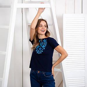 Женская синяя футболка с вышивкой Звездочка электрик