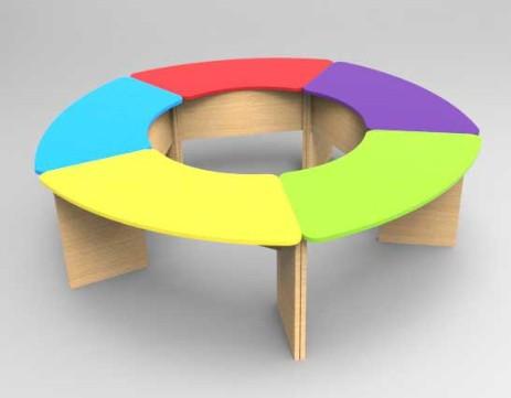 Комплект детских игровых столов Улыбка на опорах из ДСП. W12