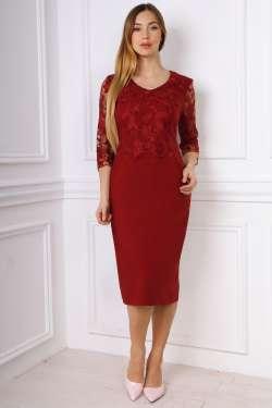 Стильное нарядное прилегающее платье со вставками евросетки, фото 3