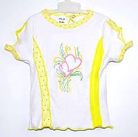 """Гр БЛ-11 """"2"""" /р.116/ /желтый/ Футболка для девочки с вышивкой"""