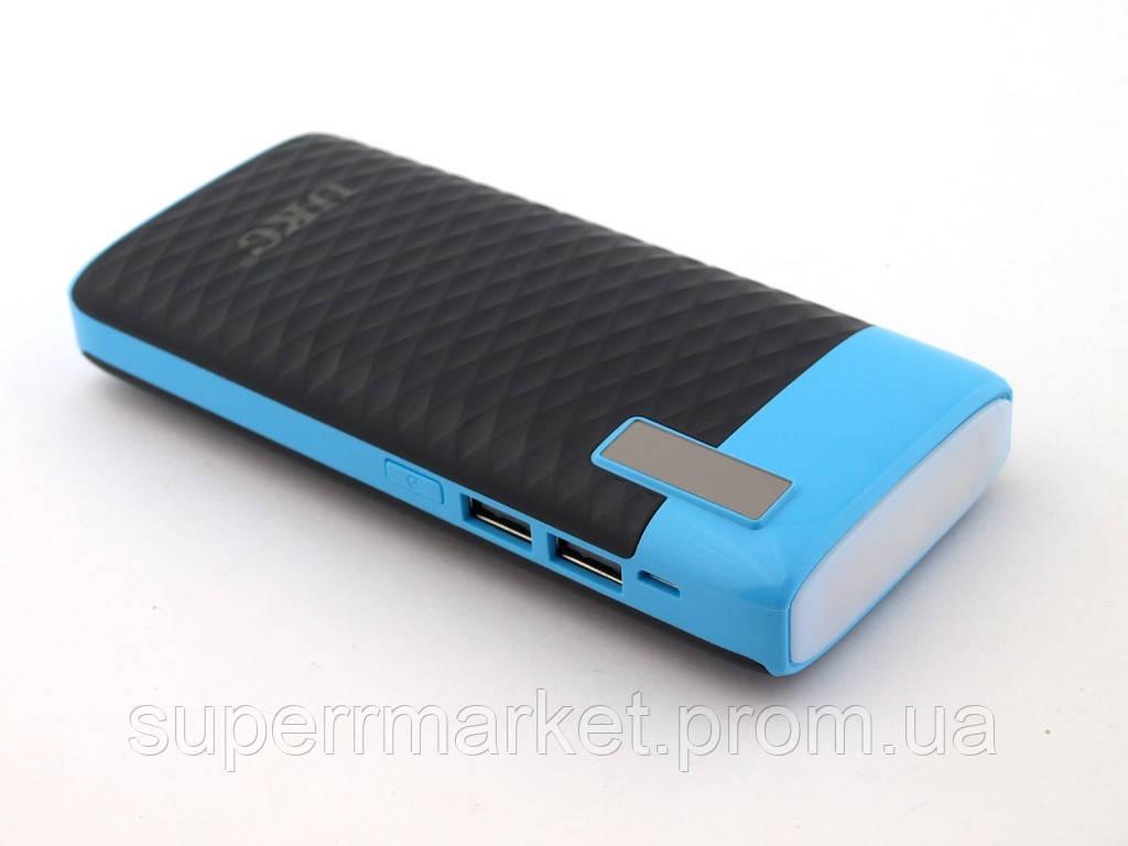 Power bank 29800mAh UKC повербанк универсальная батарея с LED фонариком, черная с синим
