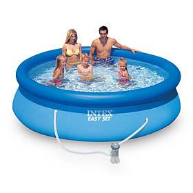 Семейный наливной бассейн с насосом Intex 28122 отличное качество