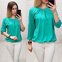 Блуза с брошкой бант арт. 779 бирюза / бирюзовый / голубой