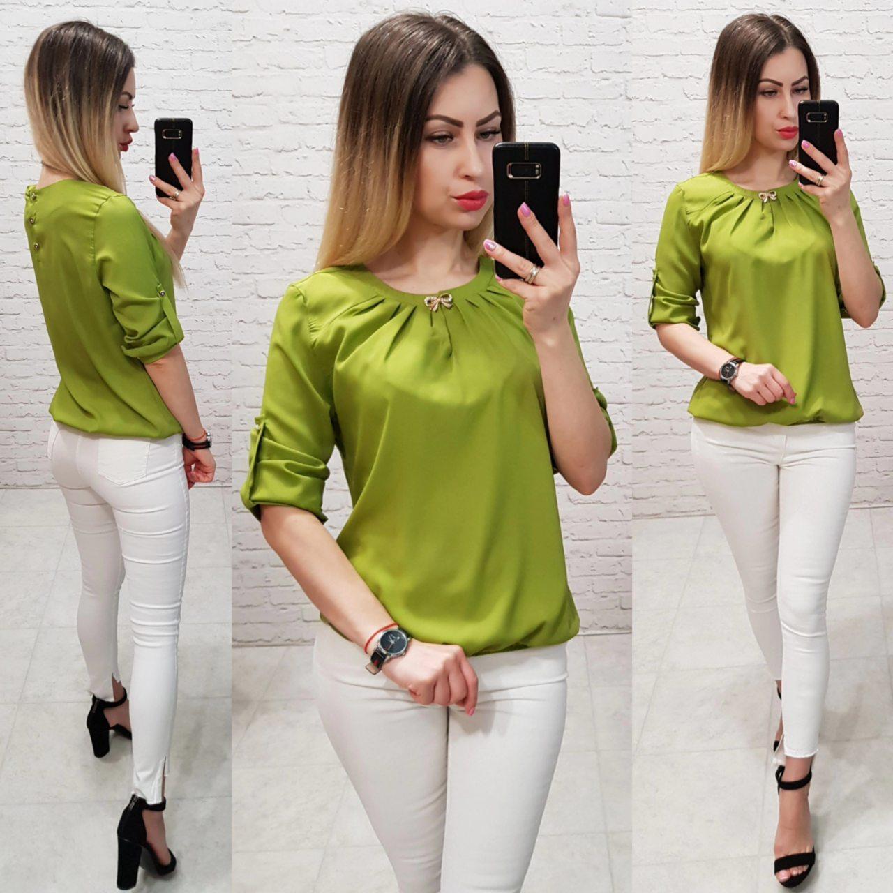 Блуза с брошкой бант арт. 779 оливка / оливковый зеленый / оливкового цвета