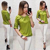 Блуза с брошкой бант арт. 779 оливка / оливковый зеленый / оливкового цвета, фото 1