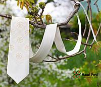 Широкий мужской вышитый галстук в классическом стиле белого цвета «Ангел», фото 1