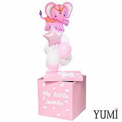 Коробка-сюрприз розовая My little jumbo и связка с розовым слоником, звездой розовый пастель и 6 шариками