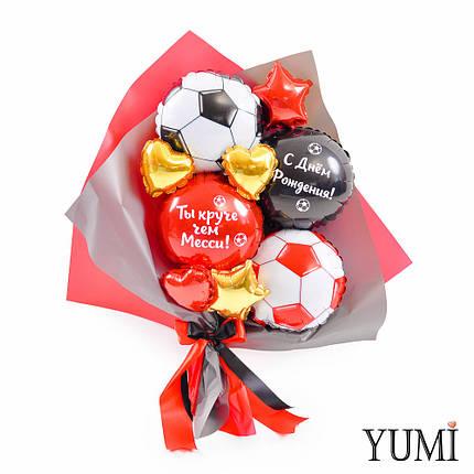 Букет из мини-фигур: Красный и черный футбольные мячи, красный и черный круги с надписями, золотые и красные, фото 2