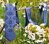 Модный вышитый галстук синего цвета в этно стиле «Мстыслав»