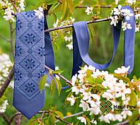 Модный вышитый галстук синего цвета в этно стиле «Мстыслав», фото 1