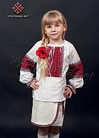 Белая вышиванка длинный рукав для девочки, арт. 0148