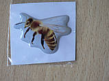 Наклейка s силиконовая Пчела 40х28х1.2мм светлая серый фон , фото 3