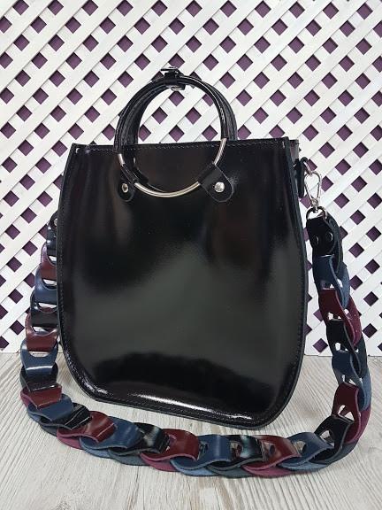 Оригинальная женская кожаная сумка, черный глянец 1710