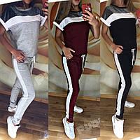 Женский летний спортивный костюм бордо серый черный 42 44 46 48