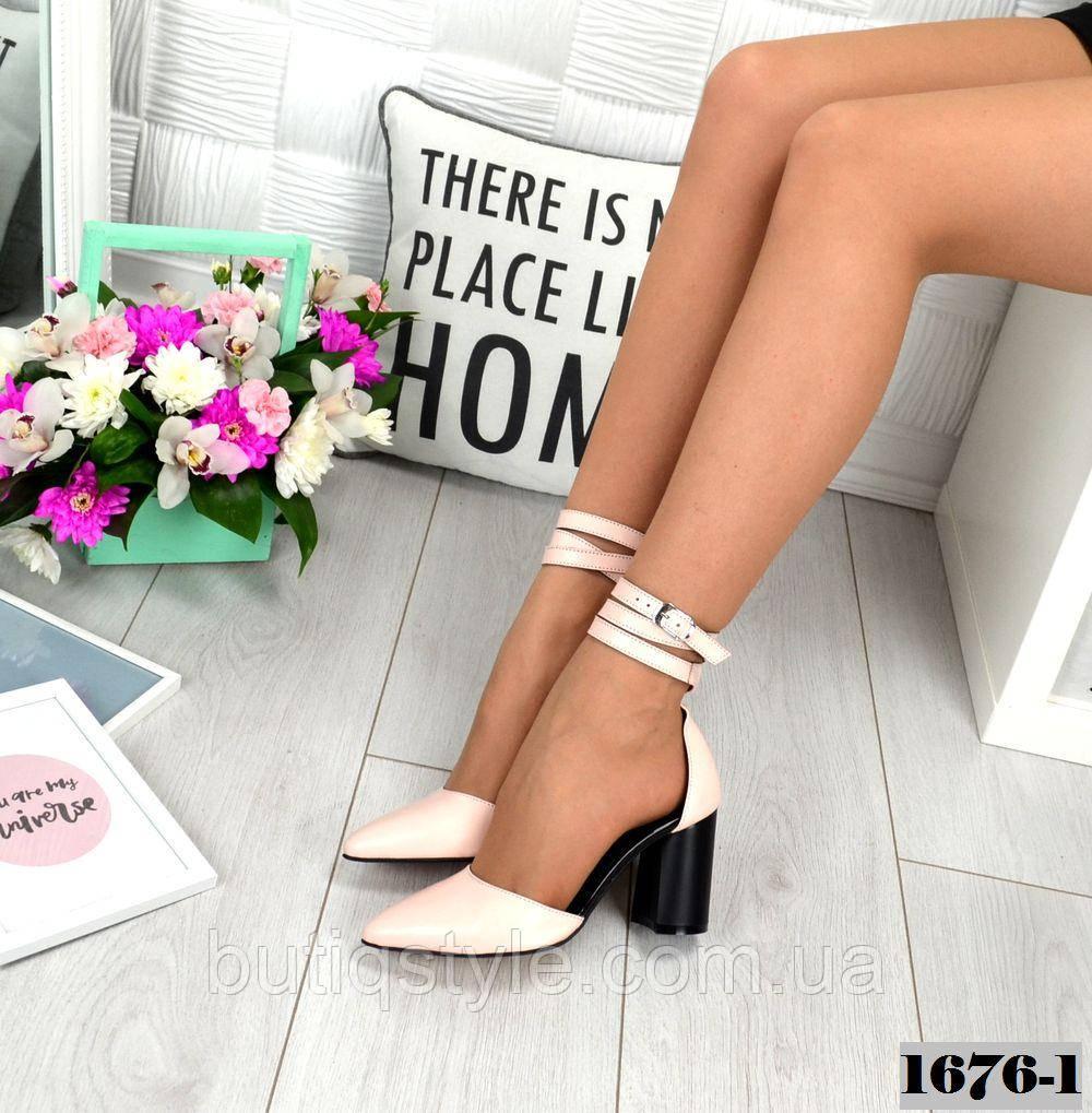 Женские открытые туфли пудра на каблуке натуральная кожа