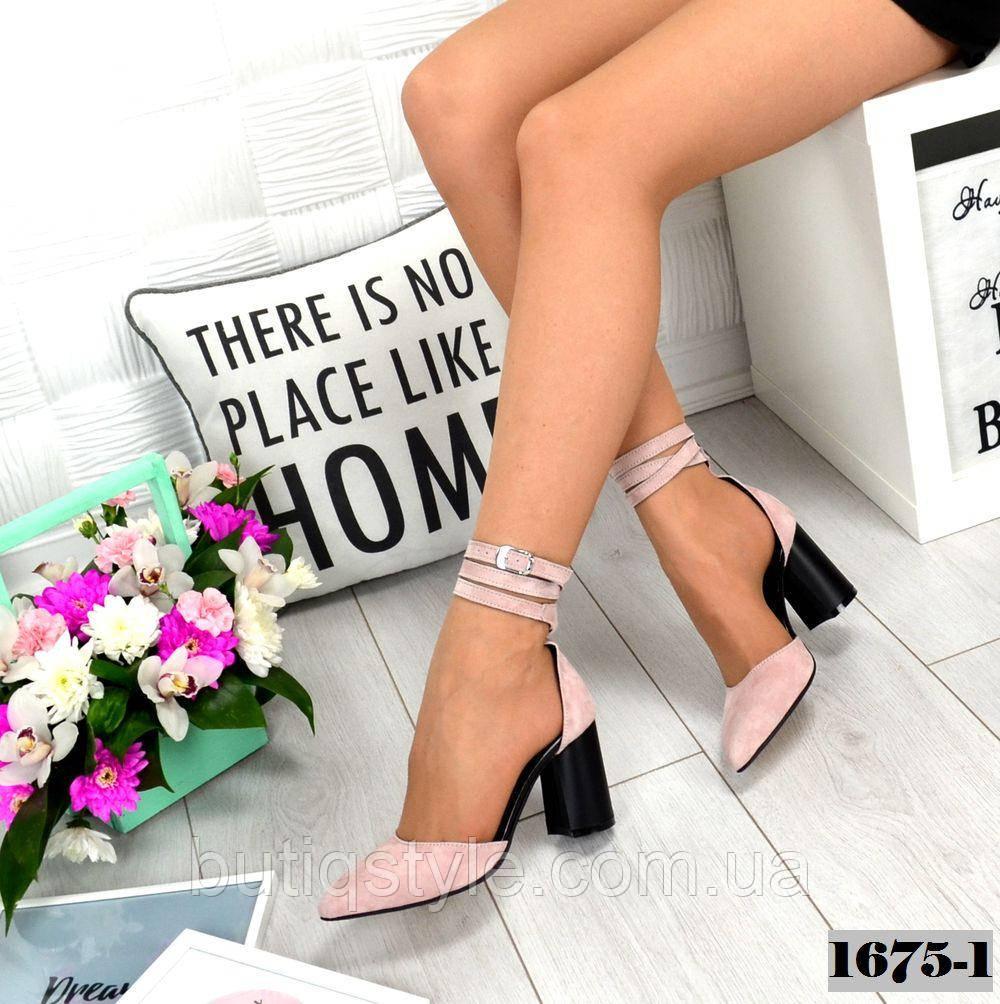 36, 37 размер Женские открытые туфли пудра на каблуке натуральный велюр