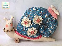 Улитка интерьерная  голубая в цветочек