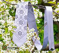 Модный мужской вышитый галстук серого цвета в деловом стиле «Дыбач», фото 1