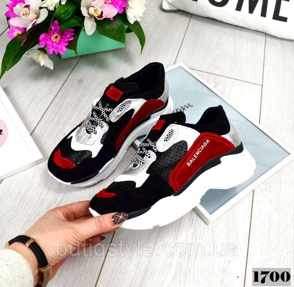 Женские кроссовки черные+красный натуральная замша + кожа с перфорацией 2019