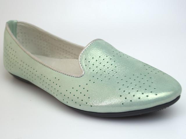 Балетки бирюзовые летние кожаные женская обувь больших размеров Scary V Turquoise Perl Perf by Rosso Avangard