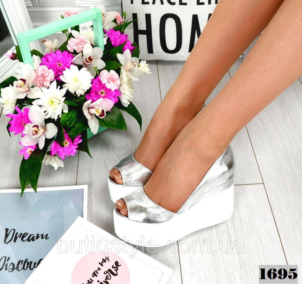 40 размер Женские туфли серебро на платформе натуральная кожа