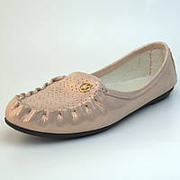 Мокасины кожаные летние женская обувь Tesoruccio Gold Pearl by Rosso Avangard золотой перламутр, фото 1